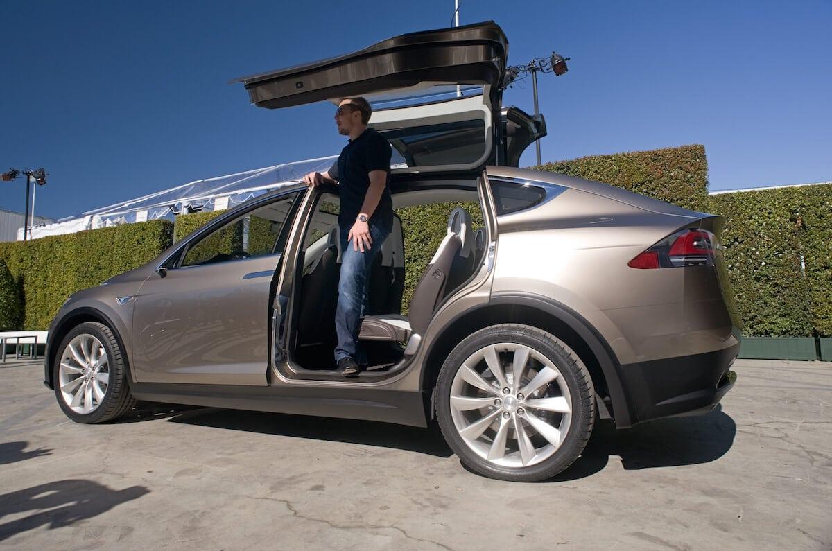 Elon Musk steps out of a Tesla Model X Prototype