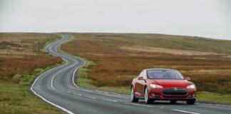 Tesla Model S in left lane