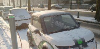electric car in winter